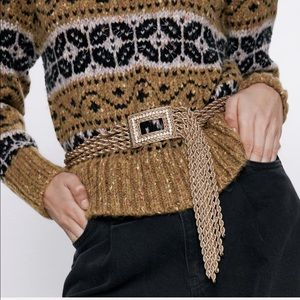 Zara gold rope belt with buckle with sparkly gems